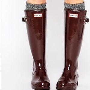 Burgundy Tall Gloss Hunter Rainboots